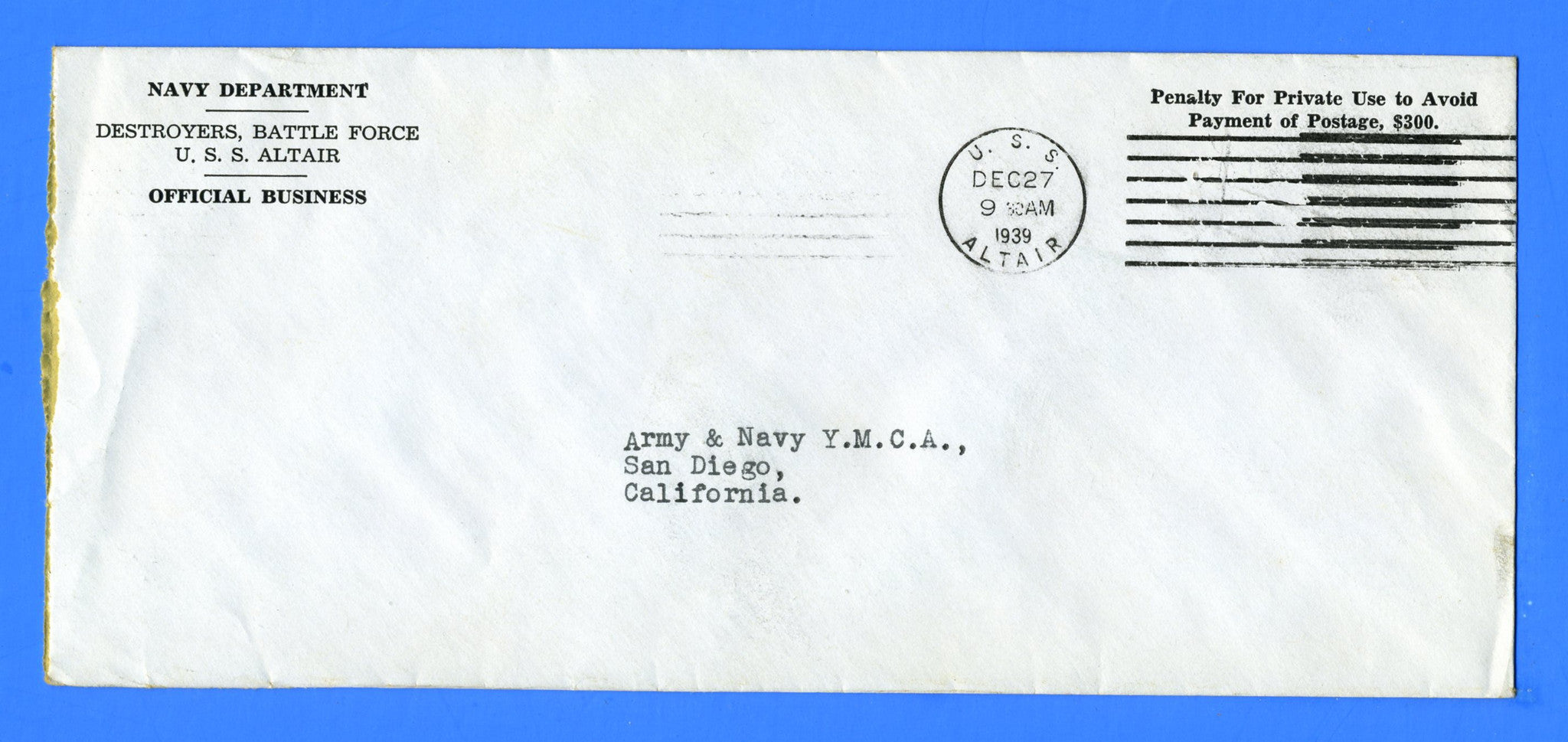 USS Altair AD-11 Official Mail December 27, 1939
