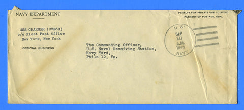 USS Charger CVE-30 Official Mail September 10, 1945