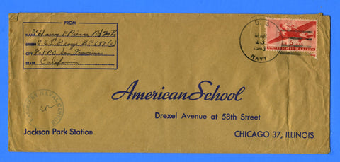"USS George DE-697 Sailor's Censored Mail to ""American School"" March 13, 1945"