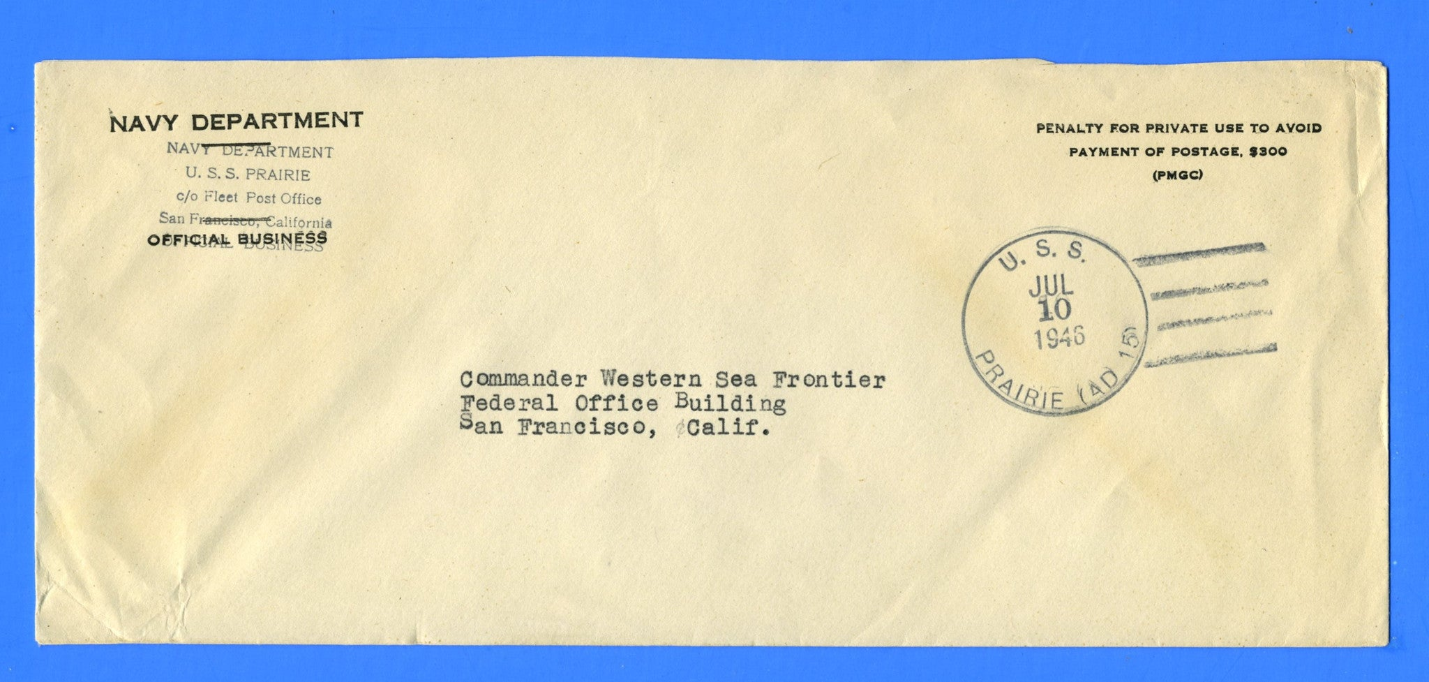 USS Prairie AD-15 Official Mail July 10, 1946