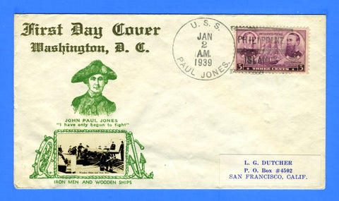 USS Paul Jones DD-230 Philippine Islands January 2, 1939 - Crosby Photo Cachet
