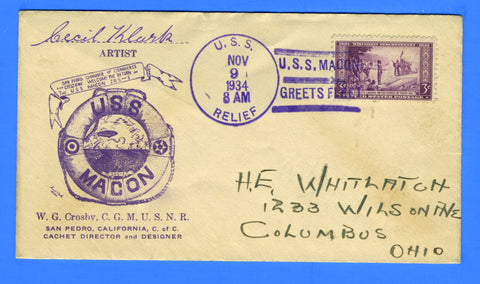 USS Relief AH-1 USS Macon Greets Fleet November 9, 1934 - Crosby Cachet - Mellone 11/9/34-6 - Catalog Value $35.00