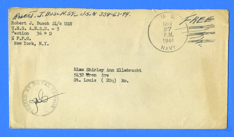 "Floating Dry Dock USS ABSD-5 Sailor's Censored ""Free"" Mail November 27, 1944"