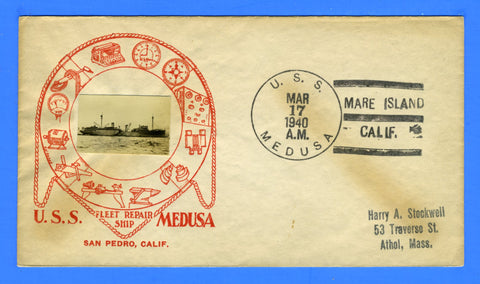 USS Medusa AR-1 March 17, 1940 - Crosby Photo Cachet