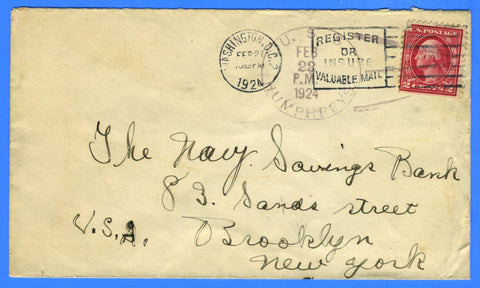 USS Humphreys DD-236 Feb 22, 1924 - Unlisted USCS Catalog of Naval Postmarks