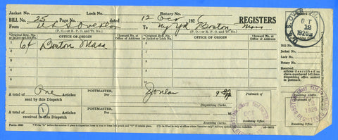 USS Overton DD-239 October 12, 1926 - Very Rare R-3 Type 9 Cancel - On Post Office Receipt