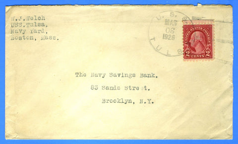 Gunboat USS Tulsa PG-22 Sailor's Mail March 30, 1926 - Rare R-1 Type 3r Cancel