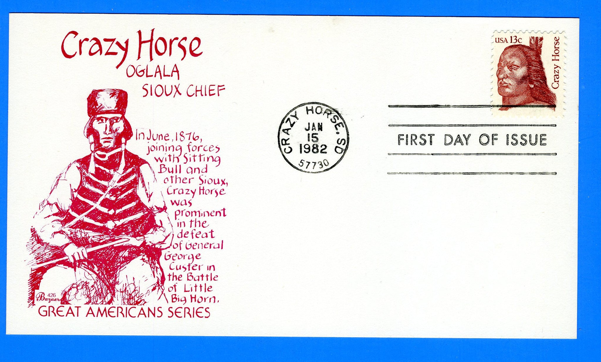 Scott 1855 Crazy Horse First Day Cover by Bazaar on Card