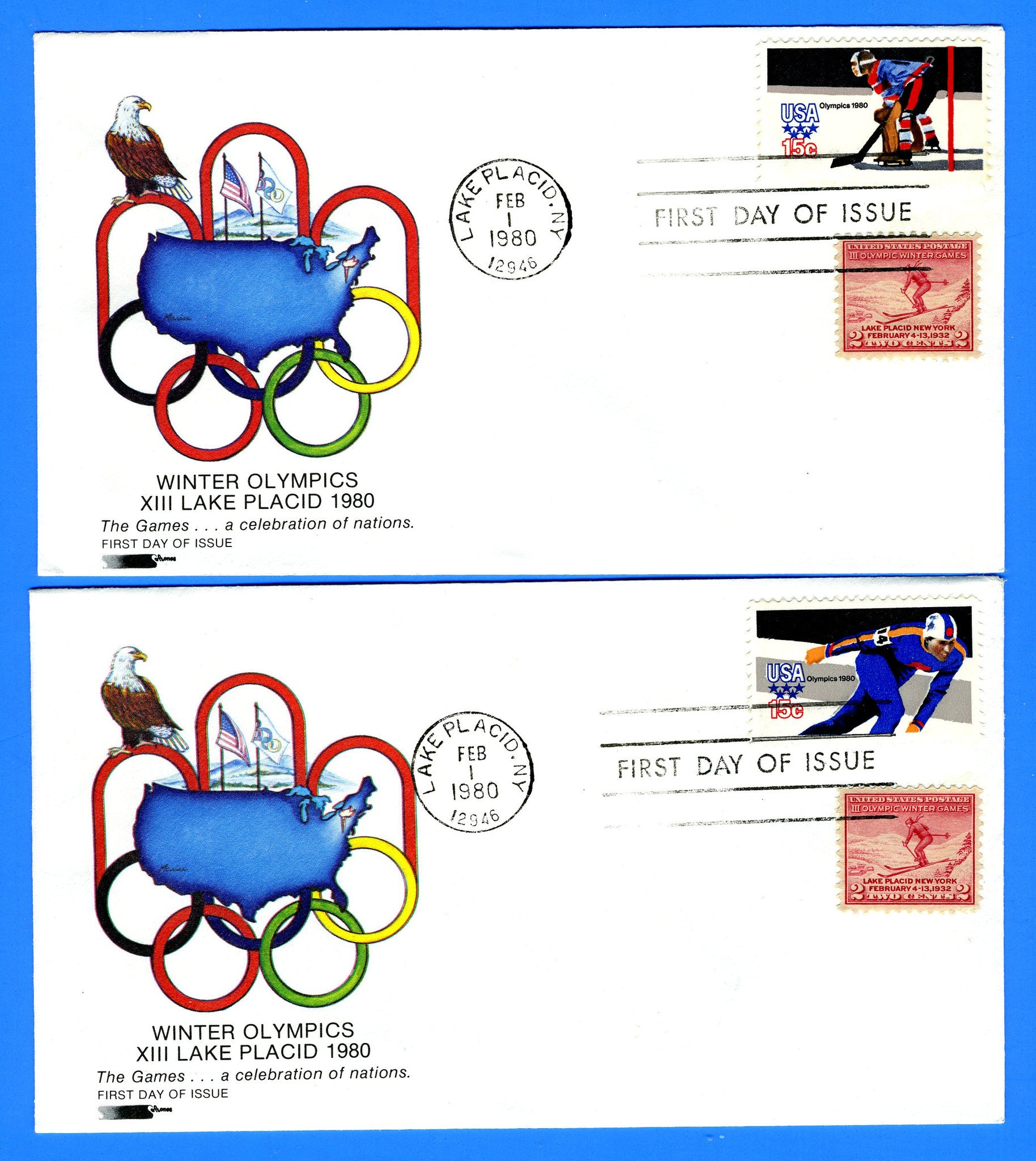 Scott 1795-98 Lake Placid Winter Olympics Set of 4 First Day Covers by Softones