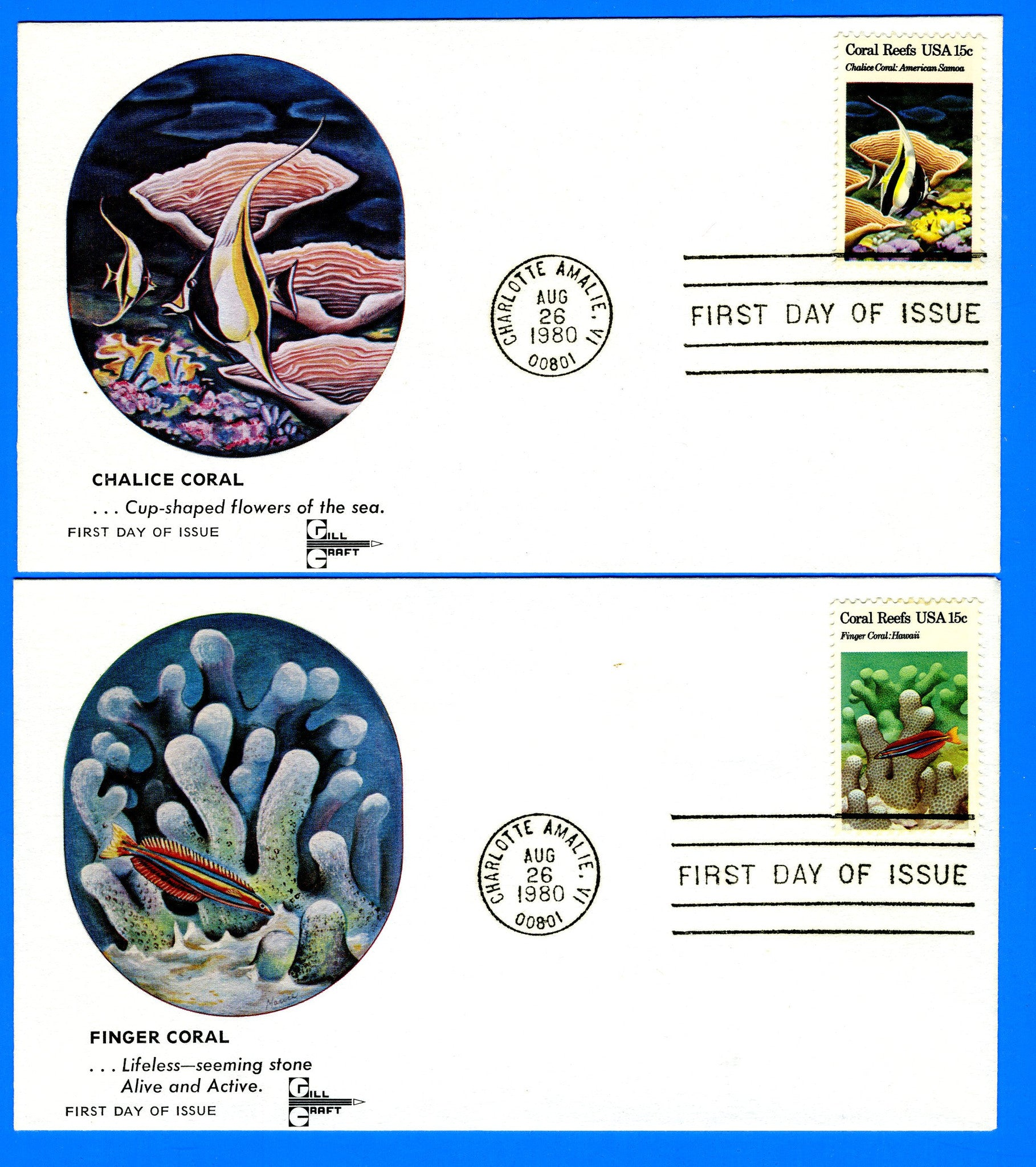 Scott 1827-30 Coral Reefs Set of Five First Day Covers by Gill Craft