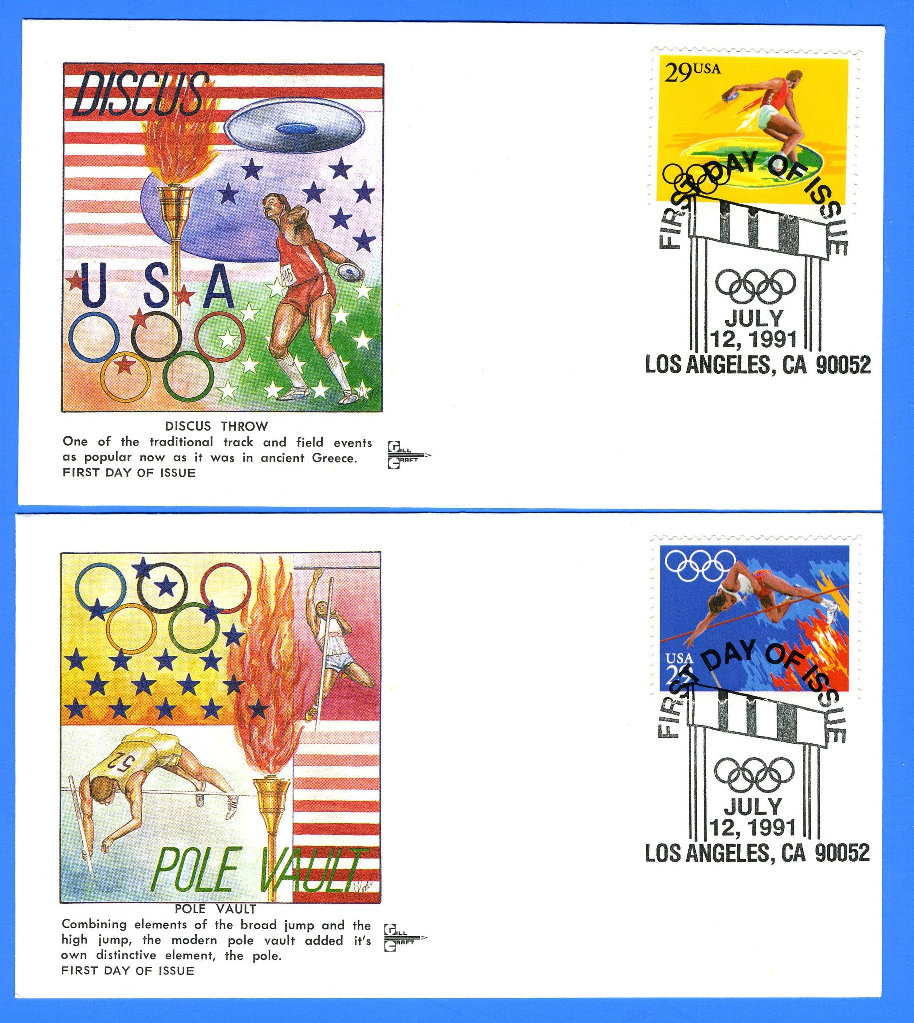 Scott 2553-57 1992 Summer Olympics Set of 5 First Day Covers by Gill Craft