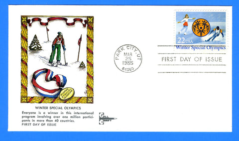 Scott 2142 Winter Special Olympics First Day Cover by Gill Craft