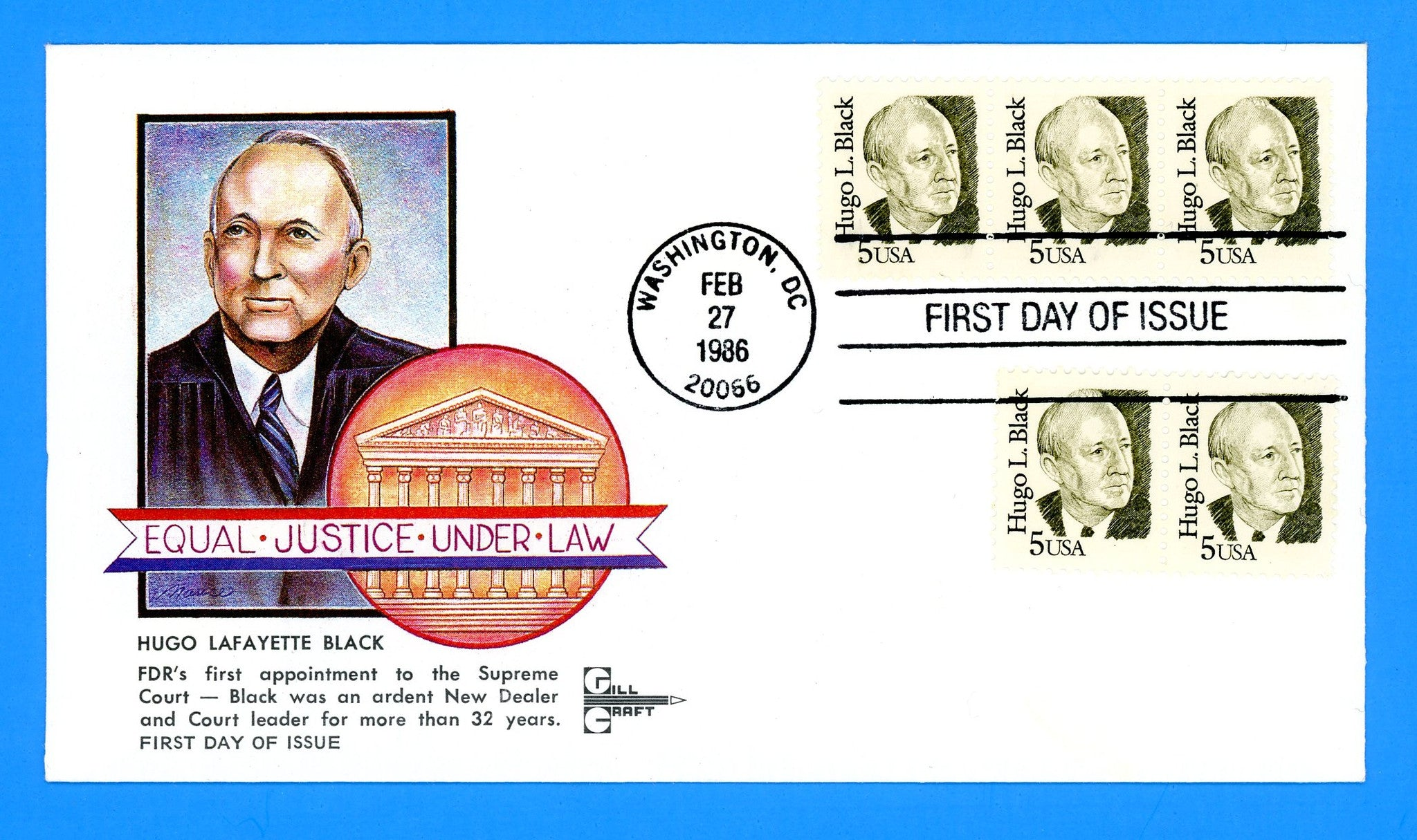 Hugo L. Black First Day Cover by Gill Craft