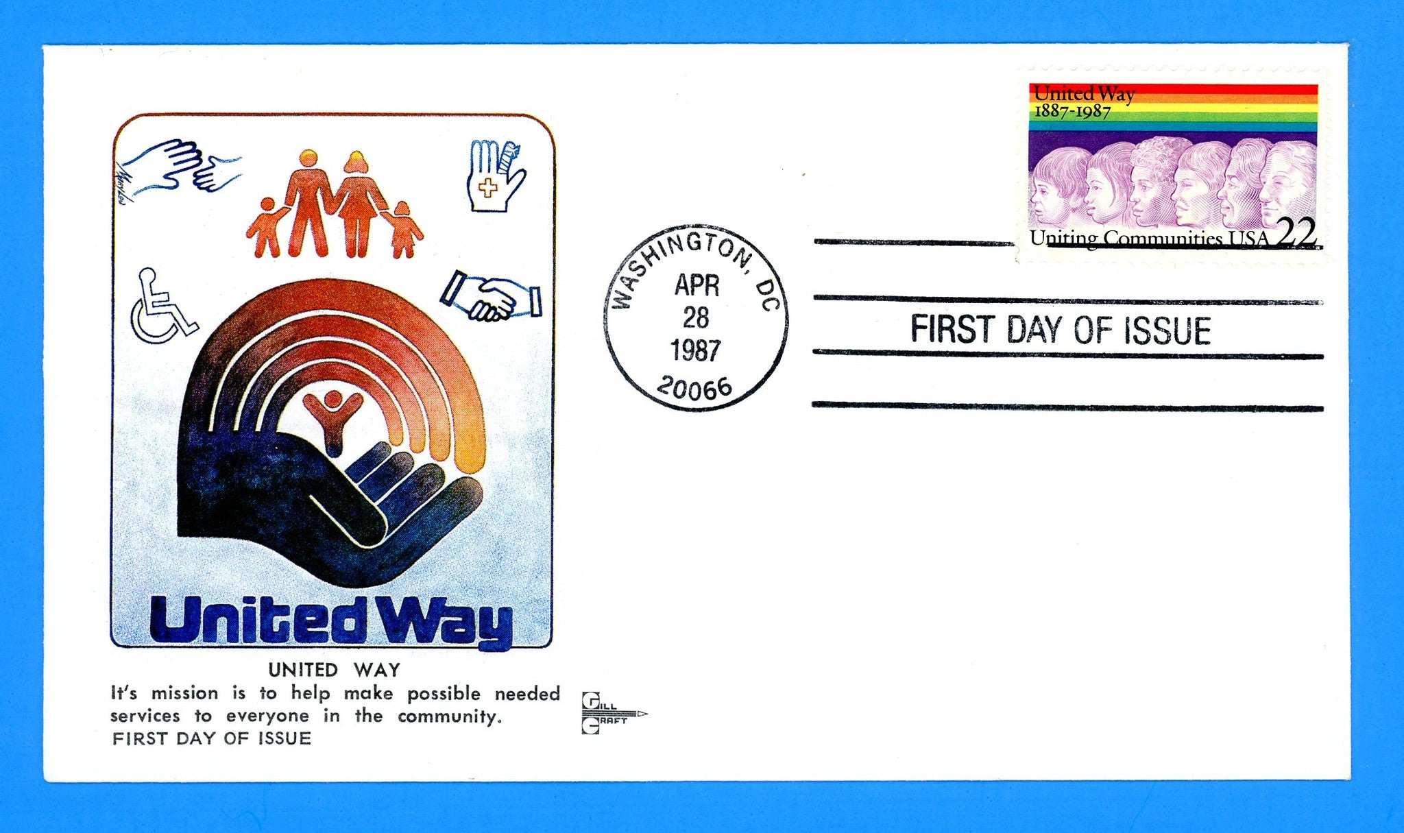 United Way Centennial First Day Cover by Gill Craft