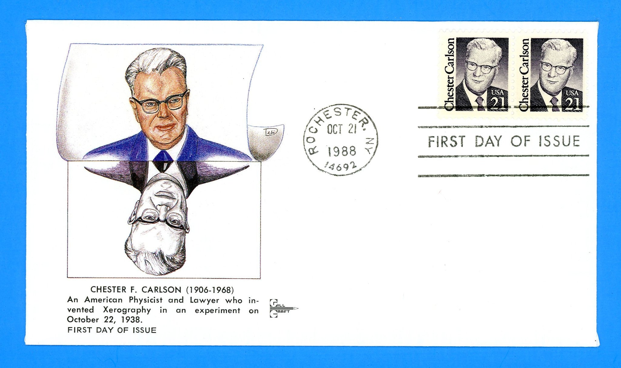 Chester Carlson First Day Cover by Gill Craft