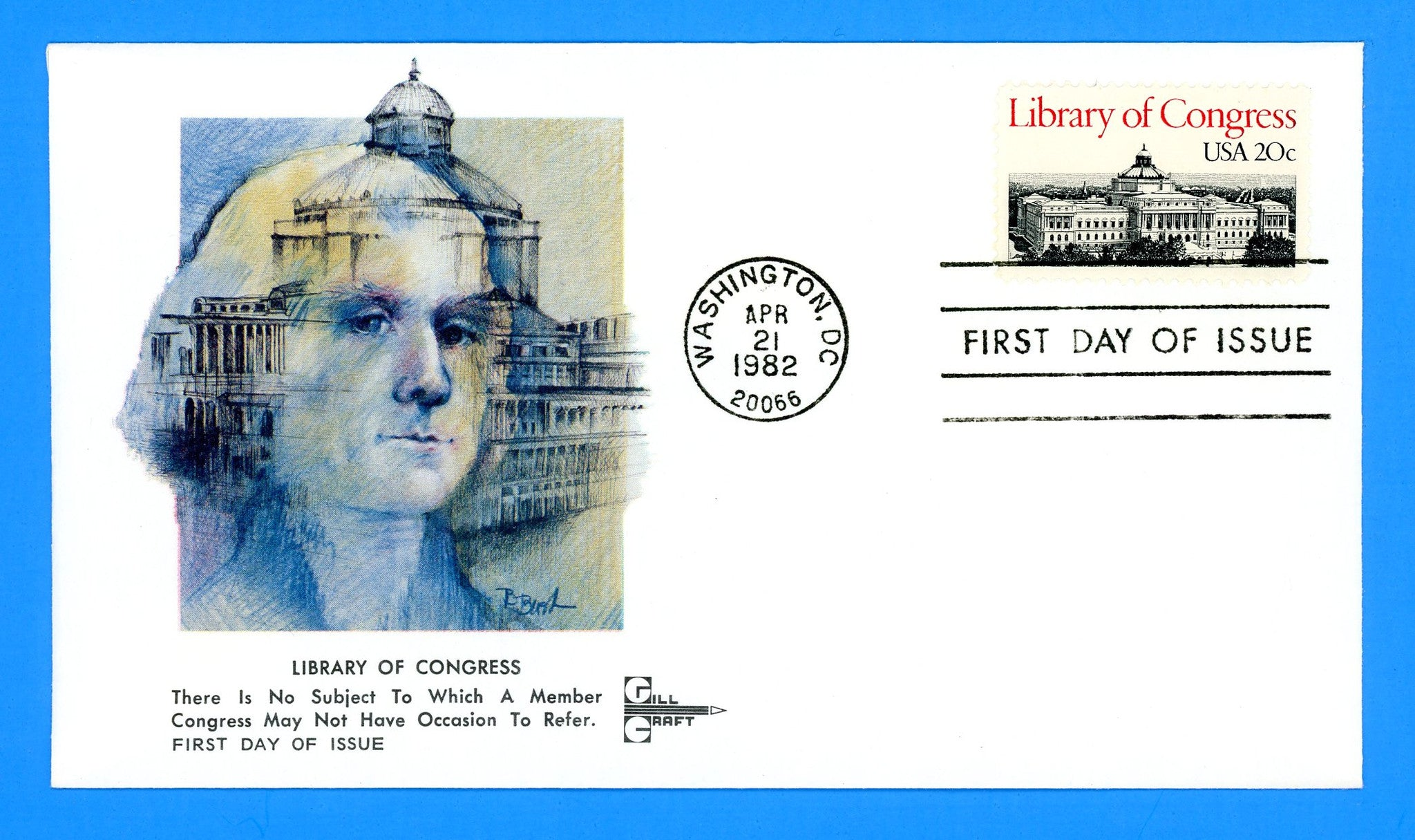 Library of Congress First Day Cover by Gill Craft
