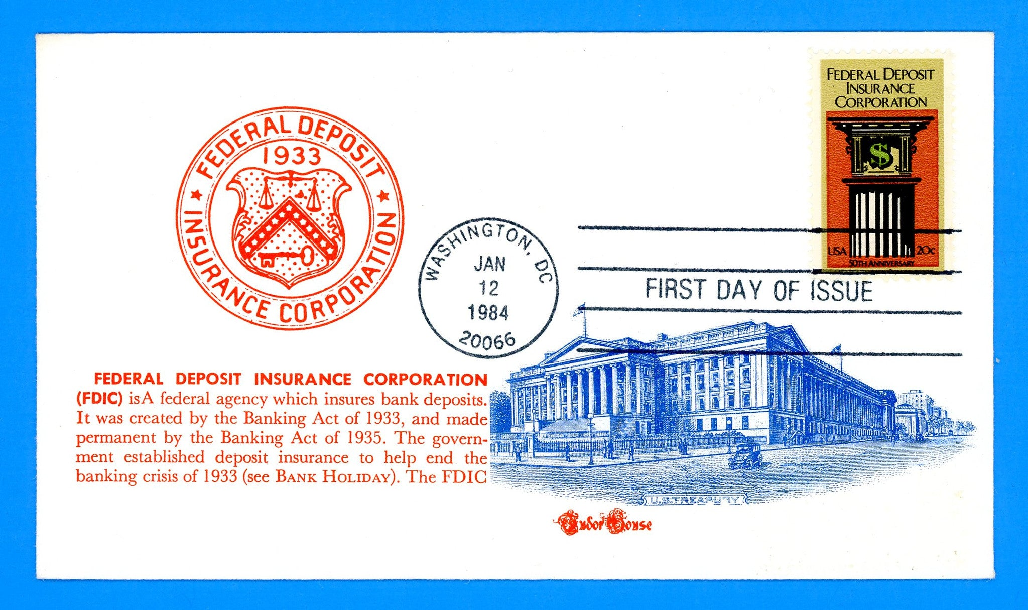 Scott 2071 Federal Deposit Insurance Corporation First Day Cover by Tudor House