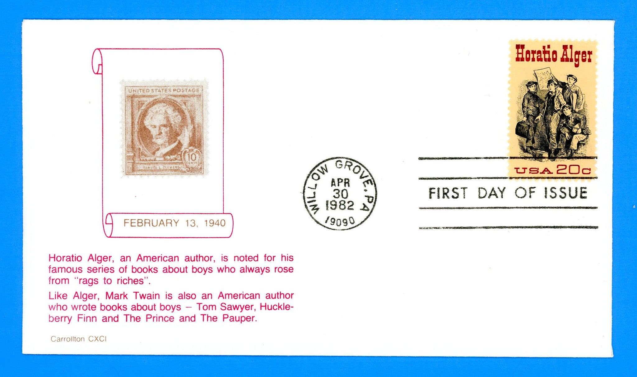 Scott 2010 Horatio Alger First Day Cover by Carrollton