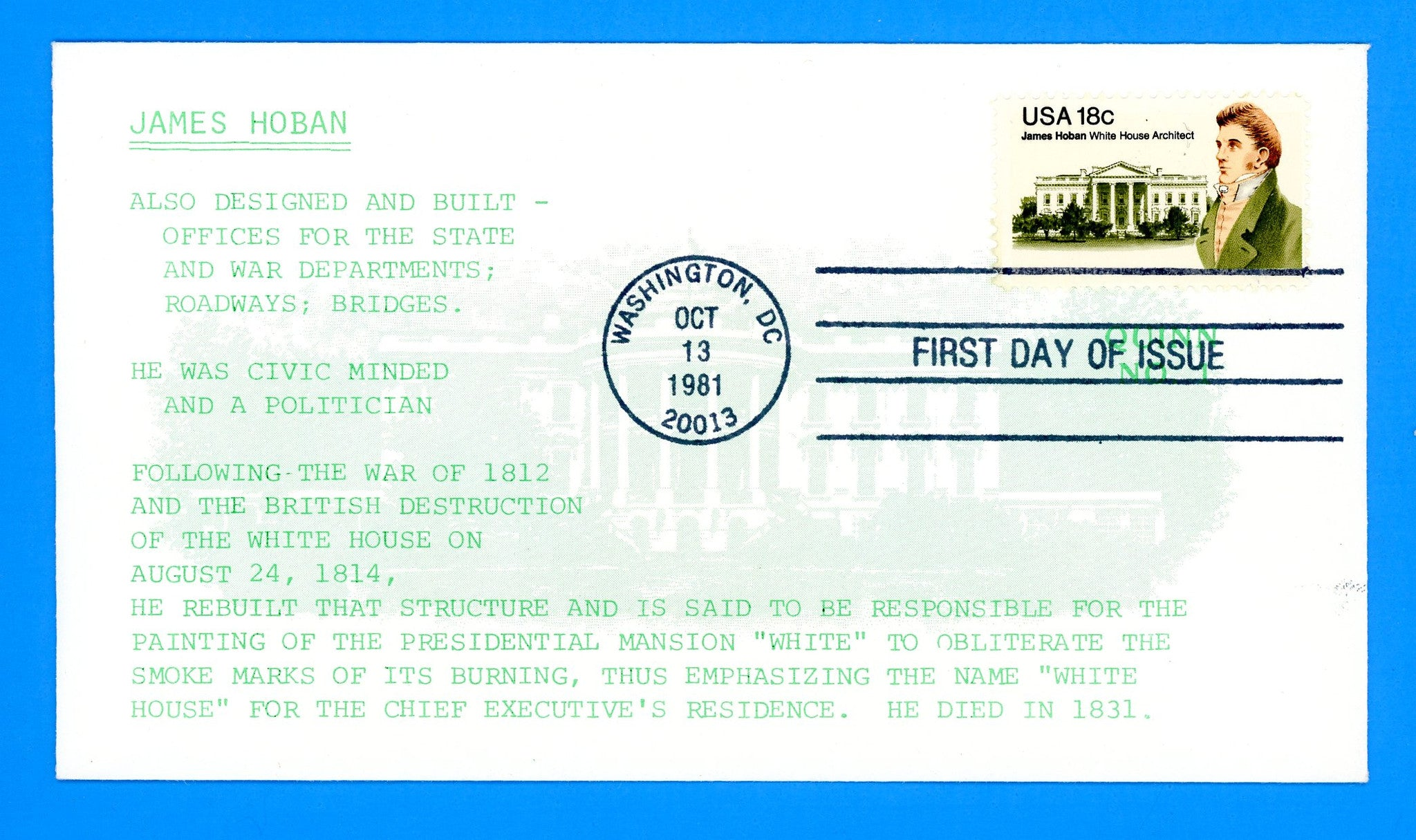 Scott 1935 James Hoban White House Architect First Day Cover