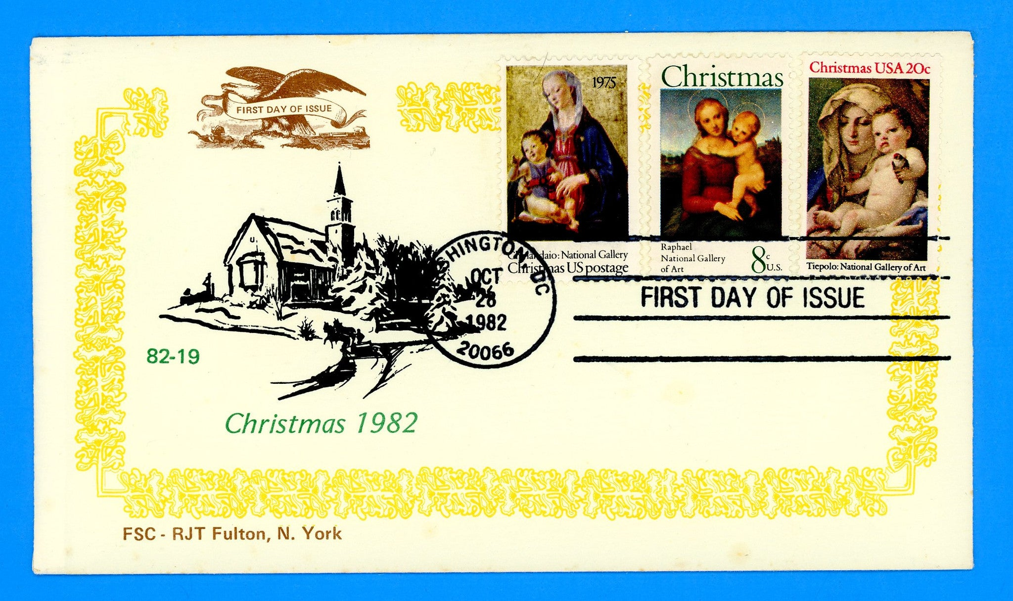 Scott 2026 Christmas Madonna & Child 1982 Combo First Day Cover by RJT Fulton