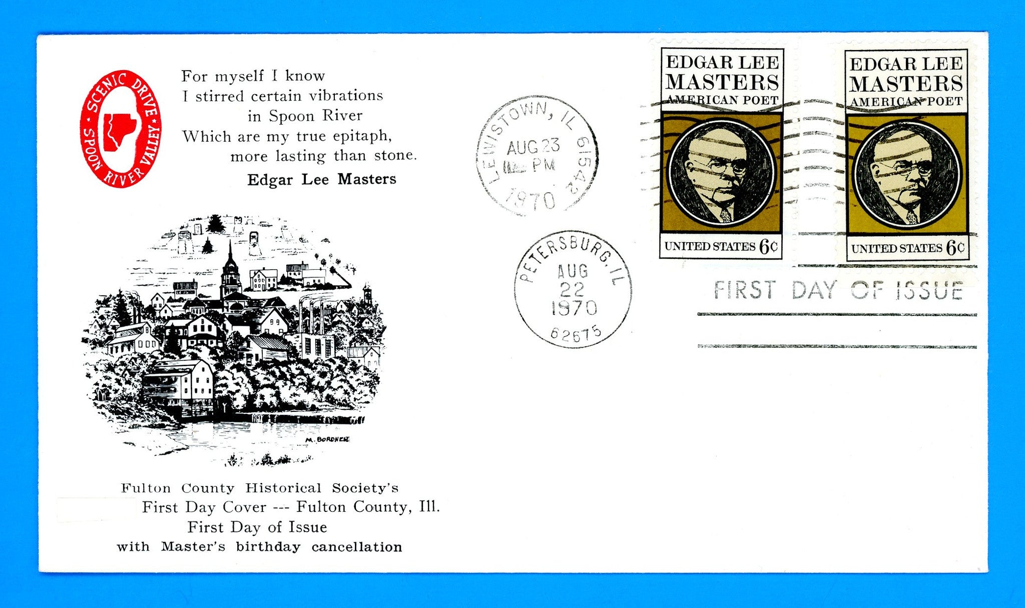 Scott 1405 Edgar Lee Masters, Poet First Day Cover by Fulton County Historical Society