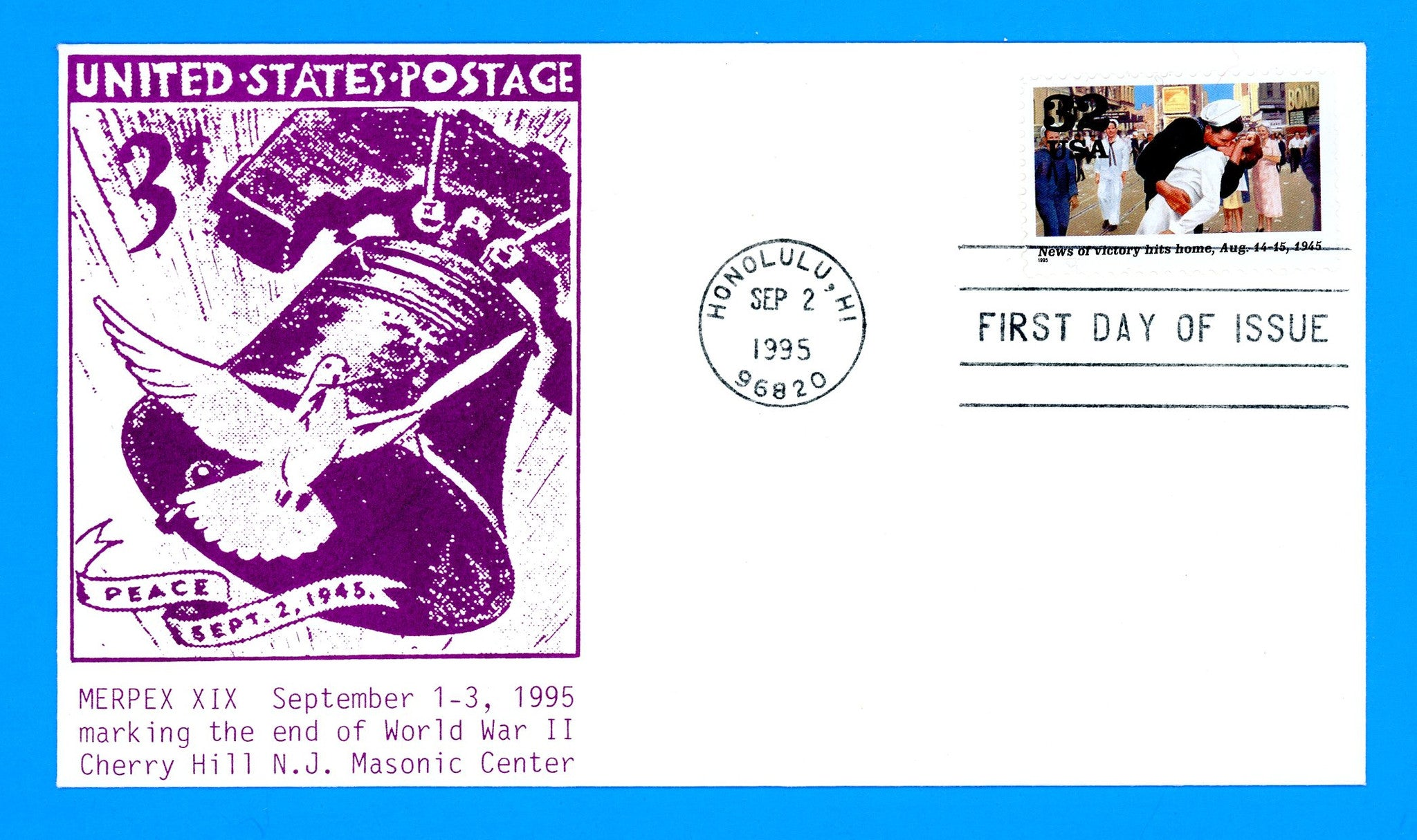 Scott 2981i News of Victory, World War II First Day Cover First Day Cover by Cherry Hill Masonic Center