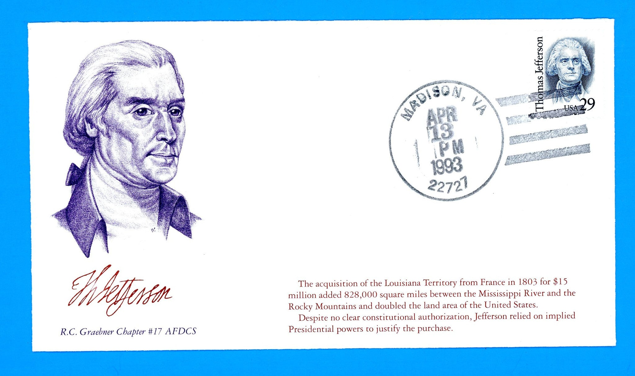 Scott 2185 29c Thomas Jefferson First Day Cover by Graebner Chapter, AFDCS - Unofficial Madison, VA Cancel