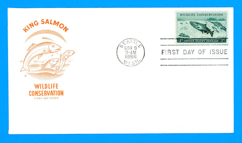 Scott 1079 Wildlife Conservation, King Salmon First Day Cover by House of Farnum