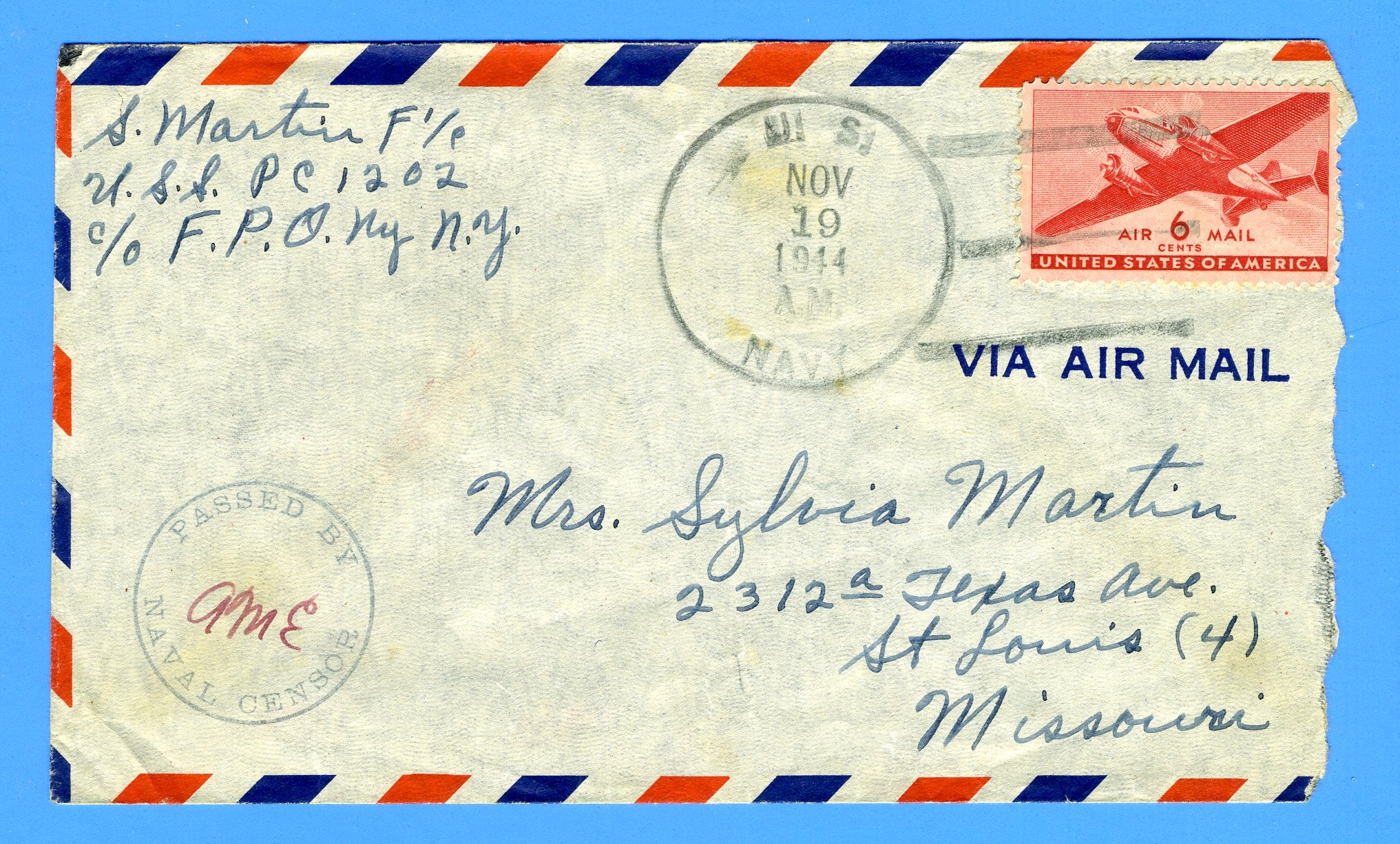 Submarine Chaser USS PC-1202 Sailor's Censored Mail February 1, 1943