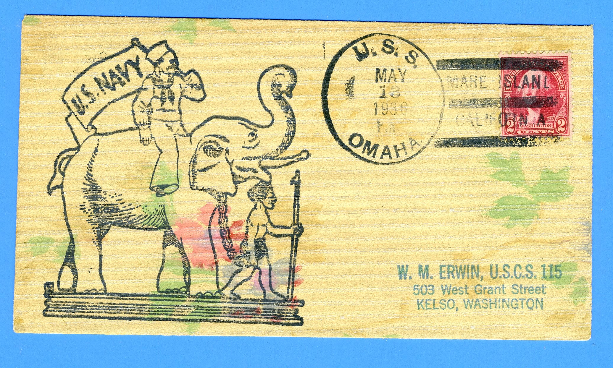 USS Omaha CL-4 Mare Island, CA May 13, 1936 - Hand Made Envelope on Textured Paper