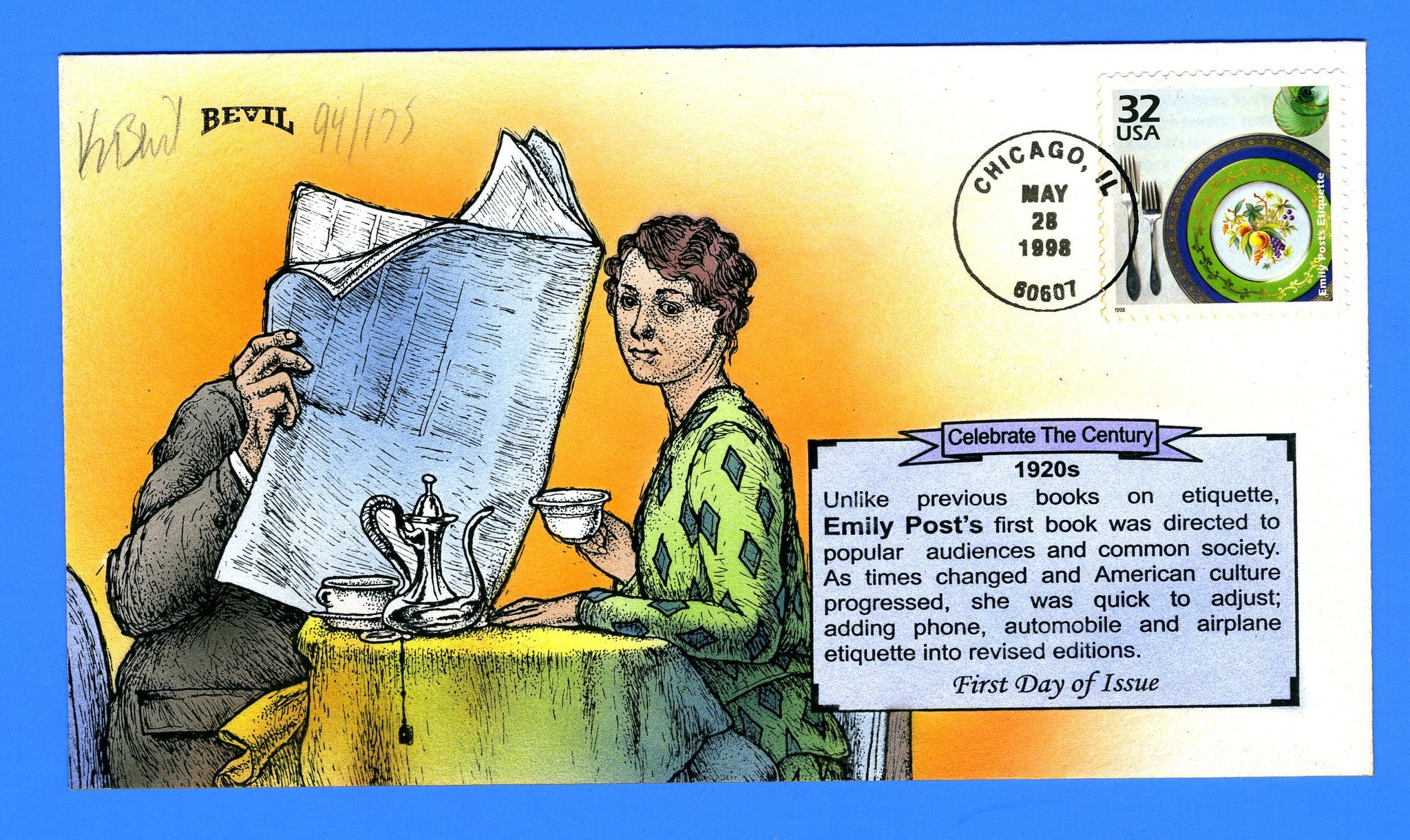 Scott 3184f Emily Post's Etiquette CTC Hand Painted First Day Cover Bevil 94/175