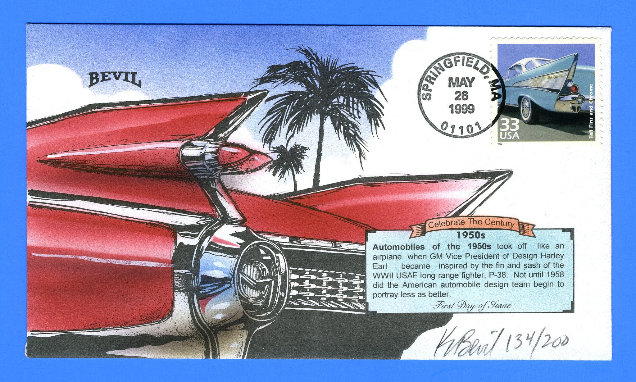 Scott 3187g Tail Fins and Chrome CTC Hand Painted First Day Cover Bevil 134/200