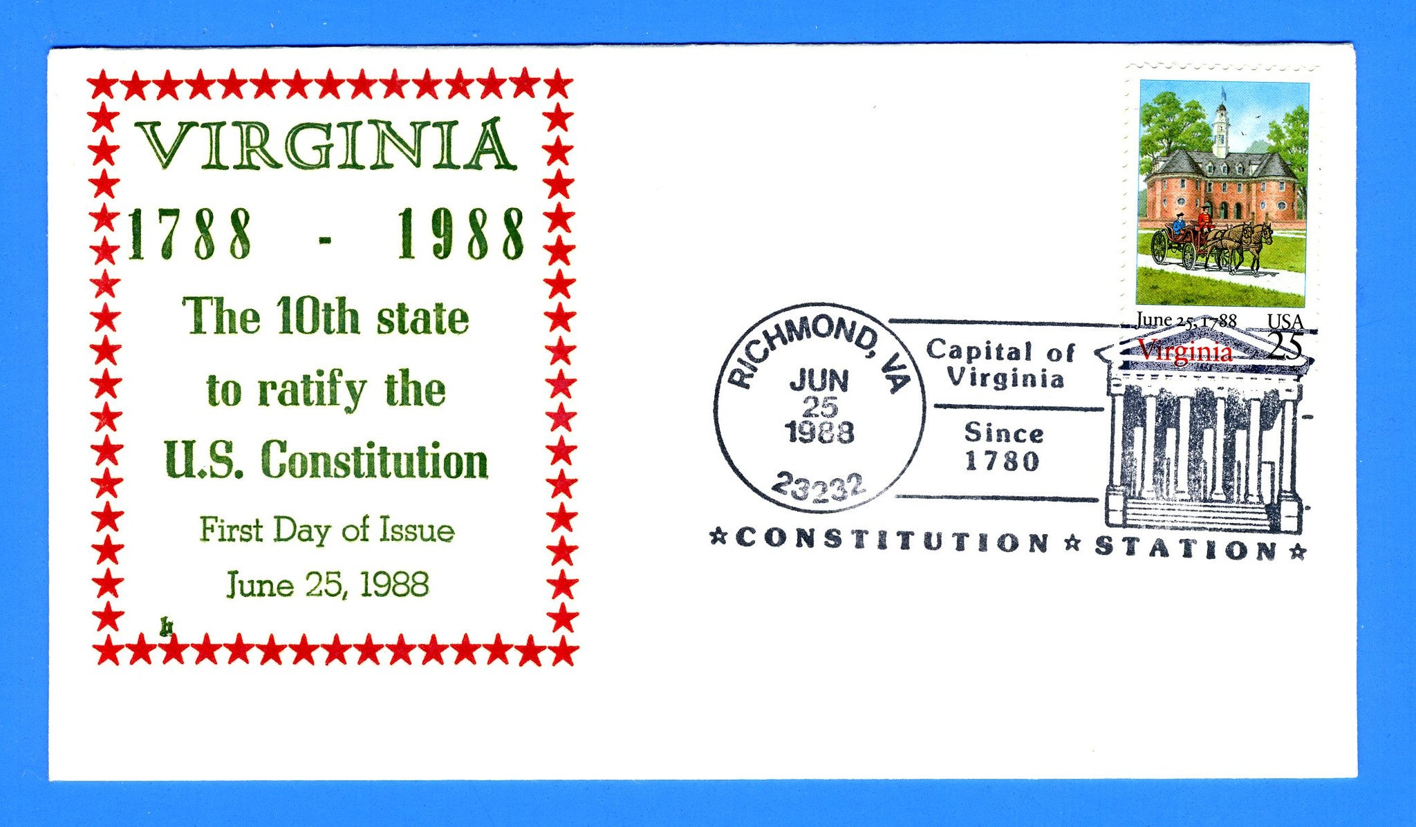 Scott 2345 Virginia Bicentennial First Day Cover with Richmond Pictorial Cancel