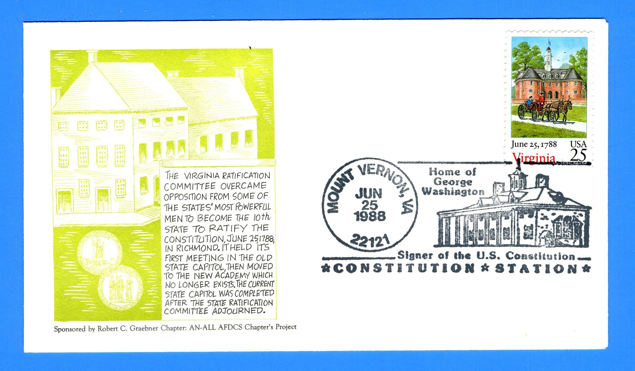 Scott 2345 Virginia Bicentennial FDC by the Robert C. Graebner Chapter of the AFDCS - Mount Vernon Pictorial Cancel