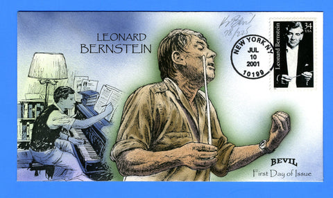 Scott 3521 Leonard Bernstein Hand Painted First Day Cover by Kendal Bevil 78/225
