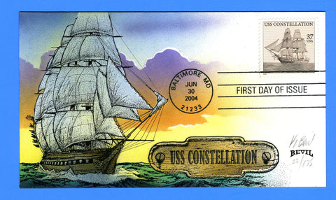 Scott 3869 USS Constellation Hand Painted First Day Cover by Bevil 22/175