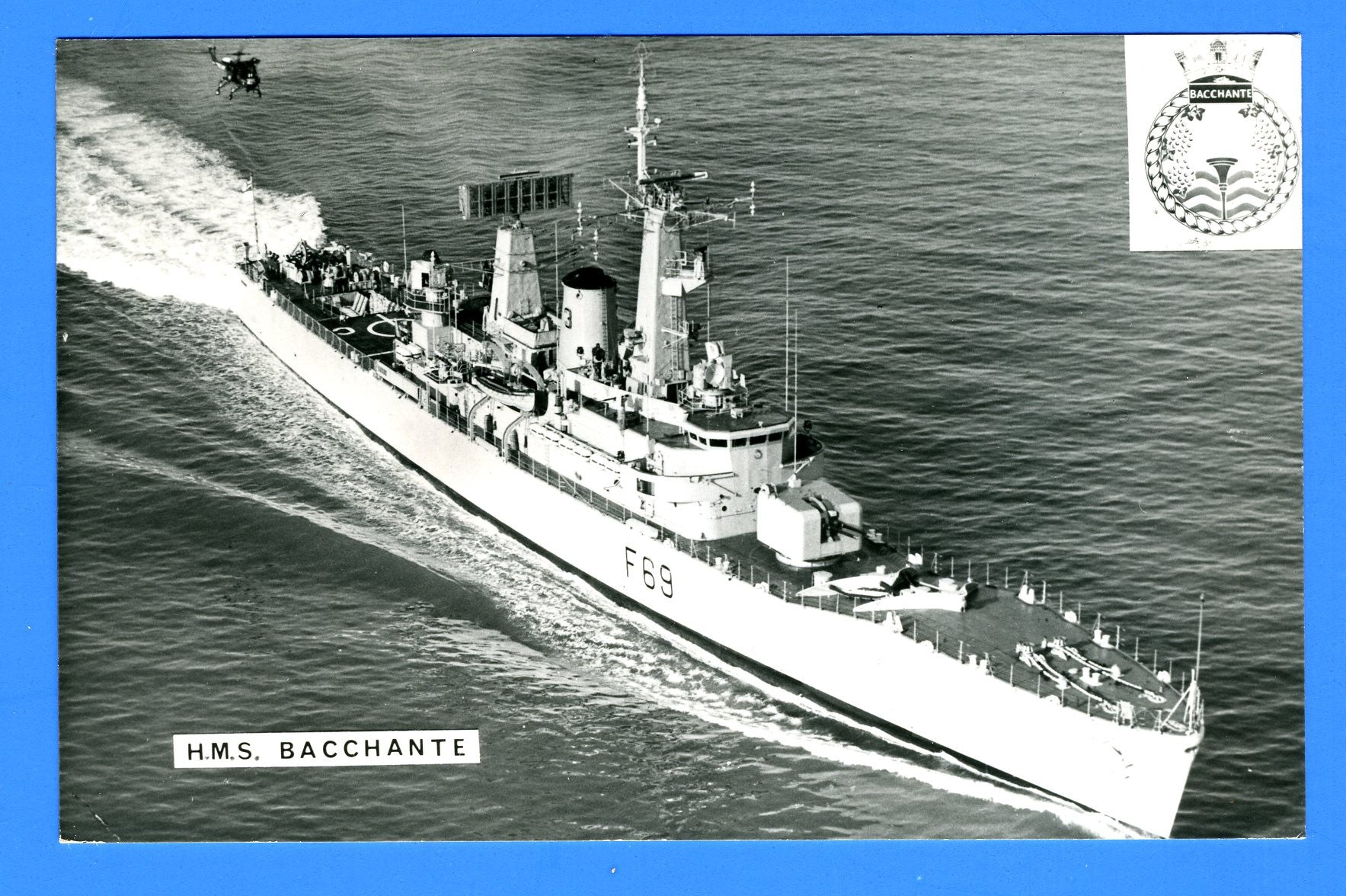 HMS Bacchante F69 Unused Postcard by Gale & Polden (Blank Back)