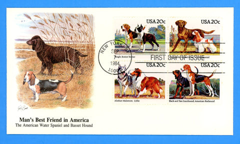 Scott 1201a American Dogs First Day Cover by Fleetwood