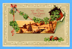 A Happy New Year Embossed Postcard