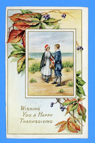 "Thanksgiving ""Wishing You a Happy Thanksgiving"" Embossed Postcard"