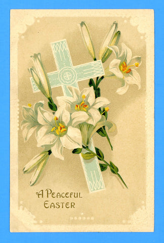 "Easter ""A Peaceful Easter"" Embossed Postcard"