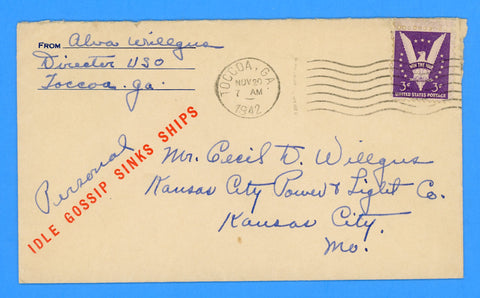 "Patriotic Cover ""Idle Gossip Sinks Ships"" USO Director Postal History November 20, 1942"