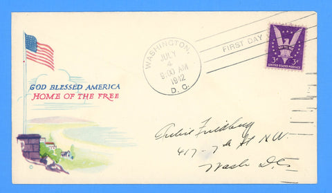 Scott #905 3c Win the War First Day Cover on Minkus Patriotic Cover