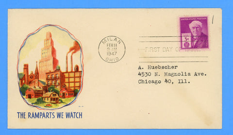 Scott #945 3c Thomas Edison First Day Cover on Minkus Patriotic Cover