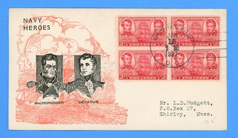 Scott #791 Navy Heroes Admirals Decatur & MacDonough First Day Cover by Bronesky