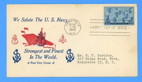 Scott #935 3c Navy Issue First Day Cover - Mellone Unknown Cachet Maker