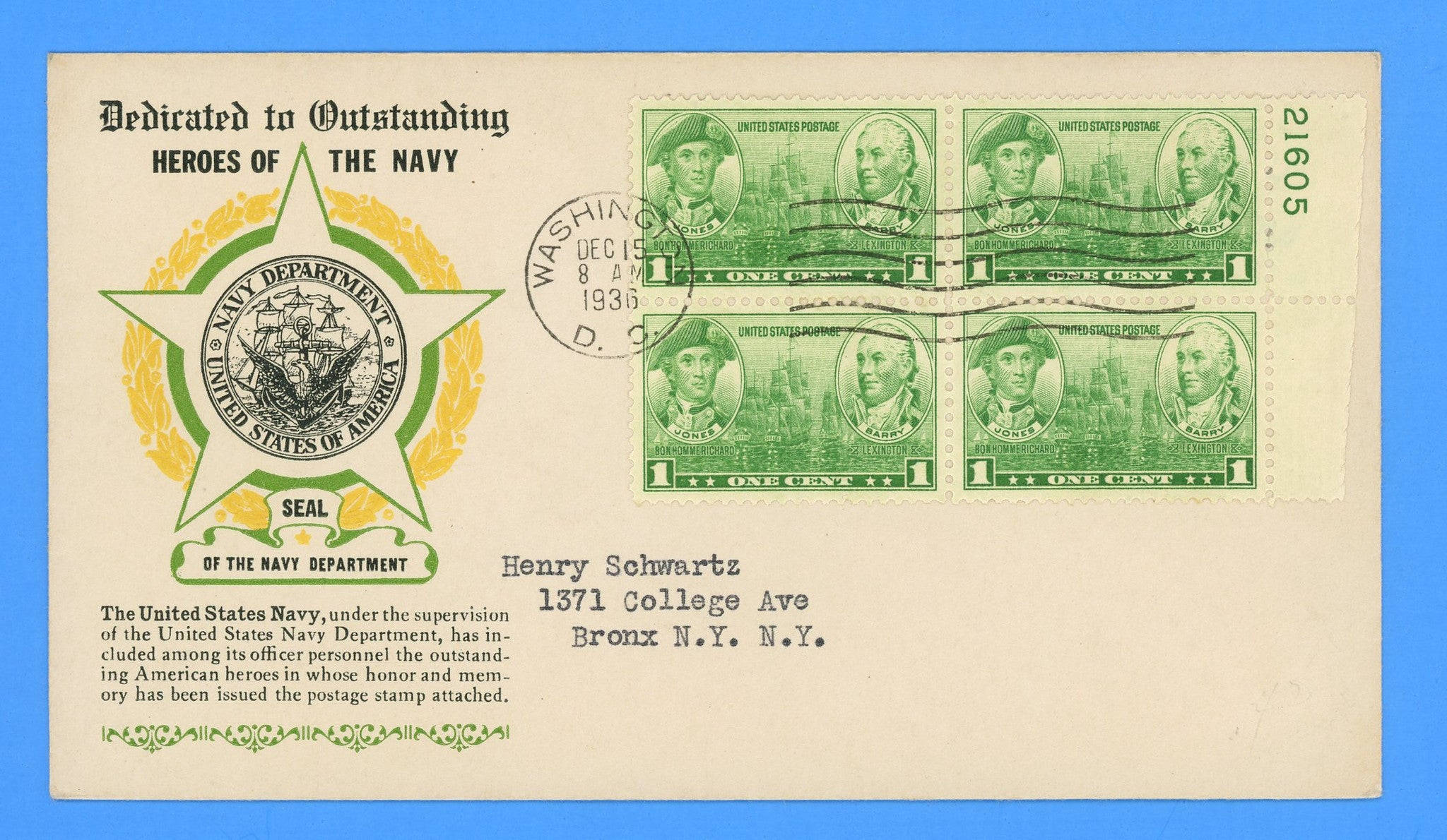 Scott #790 1c Army-Navy Naval Heroes Jones & Barry First Day Cover by Eugene Laird - Plate Block