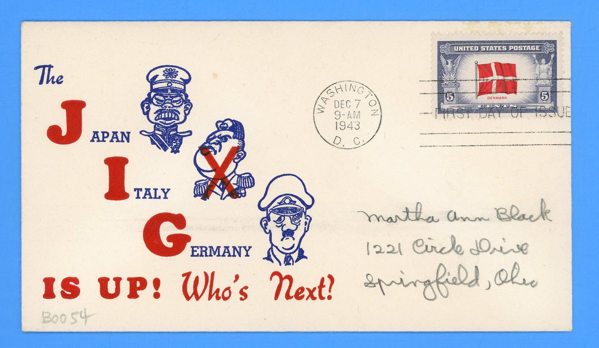 Scott #920 Overrun Nations, Denmark First Day Cover on Patriotic Cover
