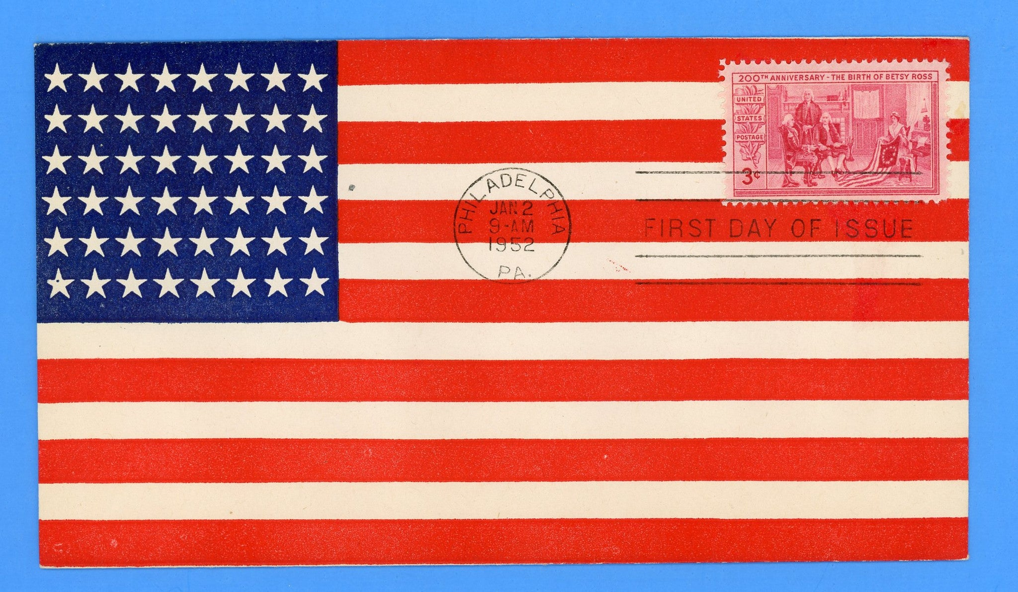Scott 1004 3c Betsy Ross Anniversary First Day Cover