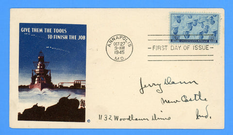 Scott #935 3c Navy Issue First Day Cover on Minkus Patriotic Cover